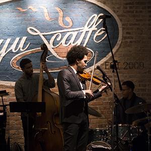band playing music in Beyu Caffe