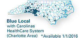 network map for Blue Local with Carolina HealthCare System - Charlotte area available January 1, 2016
