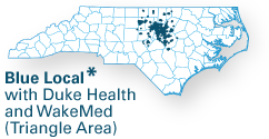 network map for Blue Local Duke Health and WakeMed